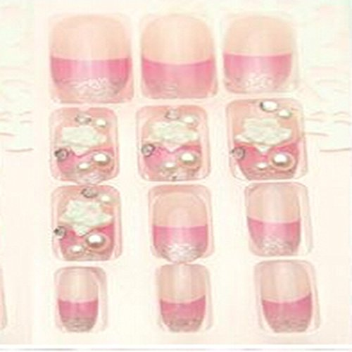 Evtech(tm) 24 PC Nail Stickers Bling Bling demi artificielle floral blanc diamant strass Crystal Pearl français faux ongles de luxe rose moyen Nail Art Conseils Transparence Fashion Style Glitters Nail Art Outil