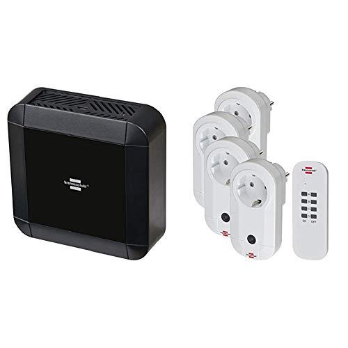 Brennenstuhl Brematic Pro Smart Home Zentrale (868 mhz, Sprachsteuerung mit Amazon Alexa oder per App) und 4er Funksteckdosen Set Innenbereich