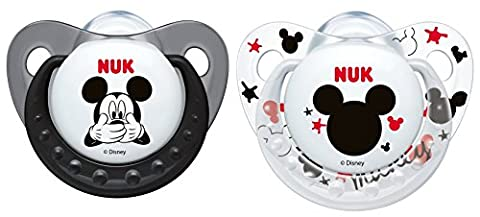 NUK Pack 2 Tetines Disney Mickey Silicone 0-6Mois Sucette Biberon