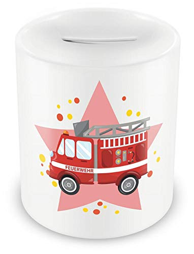 Samunshi® Kinder Spardose mit dem Motiv Feuerwehrauto Feuerwehr - Jungen und Mädchen Sparschwein Sparbüchse Feuerwehrauto