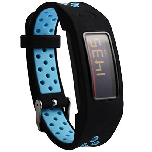 Elespoto für Garmin Vivofit 2 Armband Silikon Uhrenarmband Erstatzband Replacement Ersatz Armband für Garmin Vivofit 2 Armband Tracker (Black Blue)