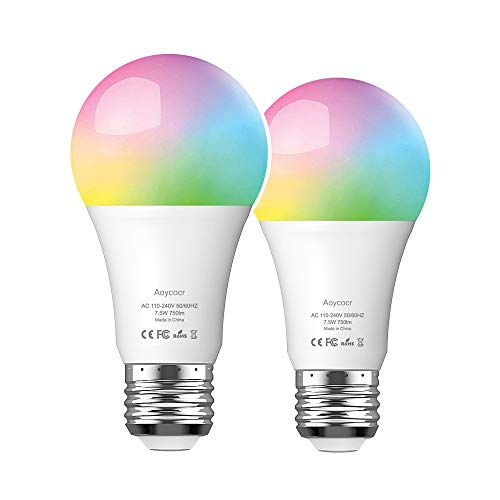 Smart WLAN LED Lampe Glühbirne, Aoycocr E27 Mehrfarbige Dimmbare Lampe RGB Birne, Wifi Bulb mit Google Home Amazon Alexa(Echo, Echo Dot), 7.5W, Smart Home, steuerbar via App von IOS & Android 2pack