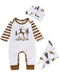 3 PCS Set bébé vêtements de Noël Bande Deer modèle Manches Longues  Barboteuse + Chapeau d18f9e2c6b9