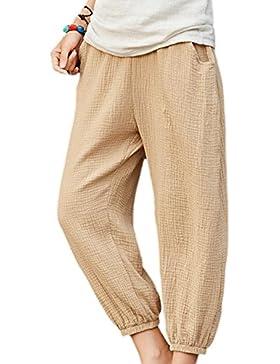 Vepodrau Las Mujeres Ropa De Doble Capa De Pantalones Cortos Pantalones Retro De Tobillo Flax One Size