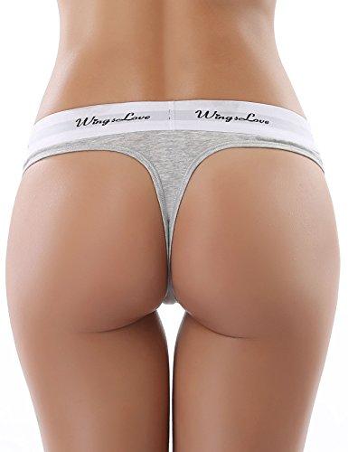 Wingslove Damen 3 er Pack Sexy Hüftiger String Tanga Thongs Hüftslip Panty Unterwäsche (L, Grau (3 er Pack)) -