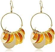 AMERTEER Boho Fashion Circle Earrings Set Squins Earrings Set of 2