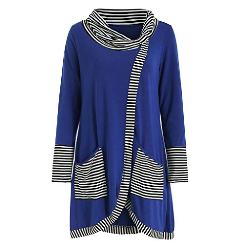 WWricotta Fashion Womens Casual Long Sleeve Striped Print Patchwork Pockets Tee Top Blouse