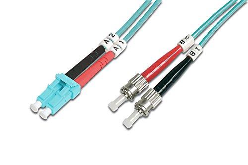 DIGITUS LWL Patch-Kabel OM3 - 1 m LC auf ST Glasfaser-Kabel - LSZH - Duplex Multimode 50/125µ - 10 GBit/s - Türkis