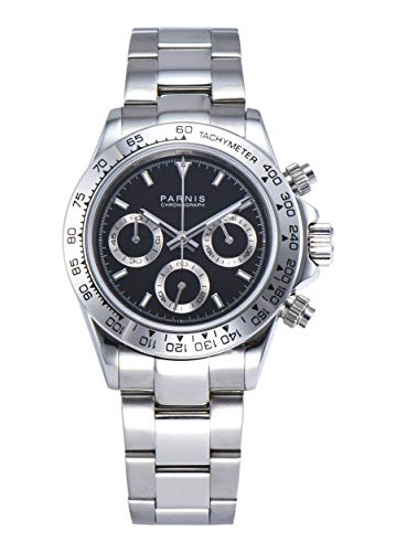 PARNIS Modell 2174 Herrenuhr-Chronograph 40mm Saphirglas Armbanduhr 316L-Edelstahl 5BAR MIYOTA Markenuhrwerk Edelstahl-Armband
