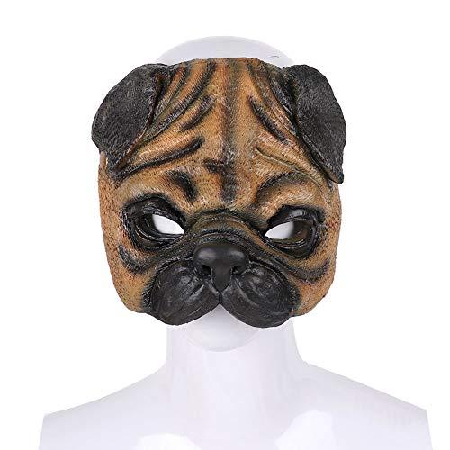 Halloween Mops Kostüm - FYYTRL Mops Maske, Neuheit Halloween Kostüm Party Kleid Maske, Tierform Halbmaske