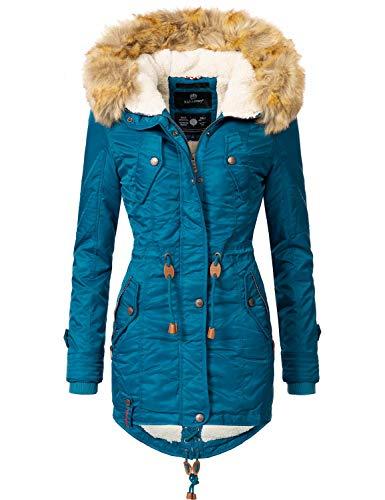 Navahoo Damen Winter Mantel Winterparka La Viva Dunkelgrün Gr. L - Winter Leder Lange Mantel