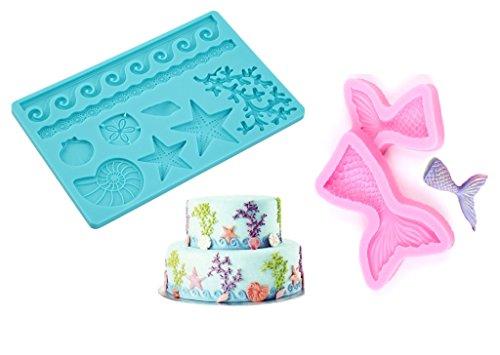 SWEET CANDY BAKERY 3x Torten Fondant 3D Formen aus Silikon Muscheln Meer Meerjungfrau Flosse Silikon Ausstecher Torten-Dekoration Schokoladen-form Meer Urlaub Sommer