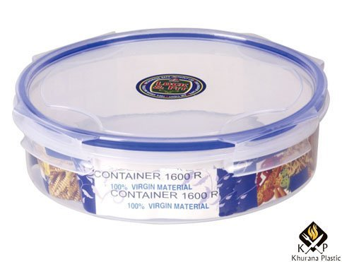 Kp 4 lock Space Saver deluxe round multipurpose food storage papad/snacks multiutility clear box 1000 ml polypropylene food container box set  available at amazon for Rs.219