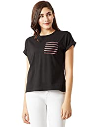 Miss Chase Women's Black Cotton T-Shirt