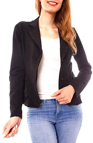 Easy Young Fashion Damen Business Kurzblazer Vintage Baumwoll-Jersey Blazer Sakko uni Schwarz S - 34