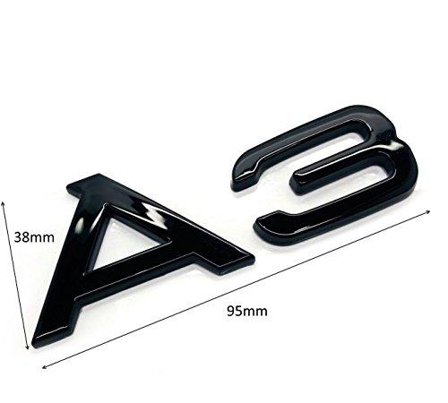 Carbon Genetics Schwarz glänzend A3 Abzeichen Emblem Stick auf Black Edition TFSI TDI S-Line