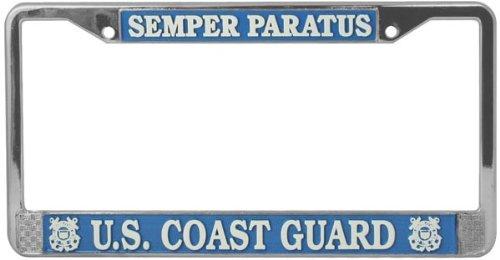 U.S. Coast Guard Semper Paratus License Plate Frame (Chrome Metal) by License Plate Shop - Coast Guard License Plate