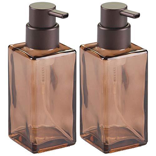 mDesign Juego de 2 dispensadores de espuma - Elegante dosificador de jabón en espuma de cristal - Dosificador de baño y cocina ideal como dispensador de jabón con 414 ml - arena/bronce