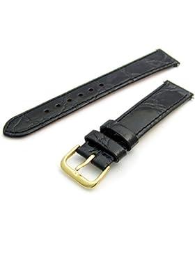 Echtes Leder Uhrenarmband flach Krokodil-Korn 18mm schwarz mit vergoldet (Gold Farbe) Schnalle