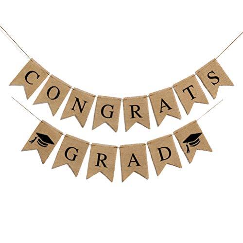 Ysoom Graduation Banner Congrats Grad Bunting Banner Graduation Cap hängenden Garland Party Favors Dekorationen
