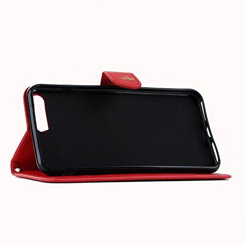 E-Lush Premium PU Leder Laserschneiden Schmetterling Muster Tasche für Apple iPhone 7/7S Plus (5,5 zoll) Einfach Einfarbig Muster Klapphülle 360 Full Body Protection Flip Case Wallet Cover Weiche Flex Rot