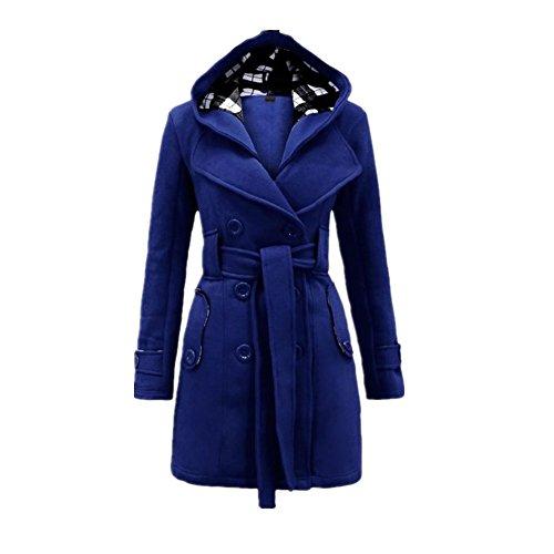 Newbestyle Herbst Baumwolle Damen Kapuzen Mantel Zweireiher Militär Stil  Lange Jacke mit Gürtel Blau a4fc53285d