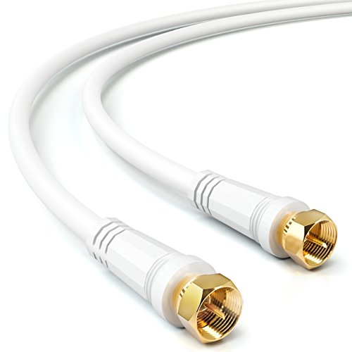 deleyCON 5m SAT TV Antennenkabel Koaxial Kabel HDTV 4-Fach Schirmung DVB-S DVB-S2 Radio DAB vergoldete Metallstecker Weiß