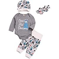 4Pcs My First Christmas Clothes Set Xmas Toddler Newborn Infant Baby Boy Girl Long Sleeves Romper Tops+Pants+Hat Hairband Outfits Pajamas uBabamama(Gray,Recommend Age:6-12 Months/80)