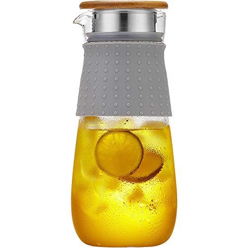 SGXDMsh 1.2 L/Liter Karaffe,Saftkrug mit Deckel,Wasserflasche Krug-plastikfrei,Glas Glaskaraffe,Wasser Karaffe - BPA Frei,Glasbehälter und Wasserkaraffe,Tee Krug Ausgießer(Einzeltopf, Keine Tasse)