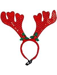 Jannyshop Haustier Weihnachten Stirnband für Hund Katze Rentier Geweih Stirnband A