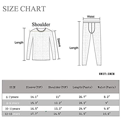 BUYKUD Kids' Boys Long Sleeve Base Layer Compression Underwear Athletic Shirt Tights Top & Bottom Set 6
