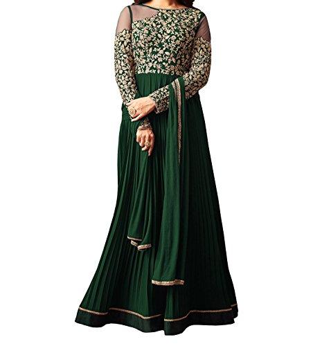 Ethnic Yard Semi-Stitched Free Size Embroidered Faux Georgette Festive Wear Anarkali Salwar...