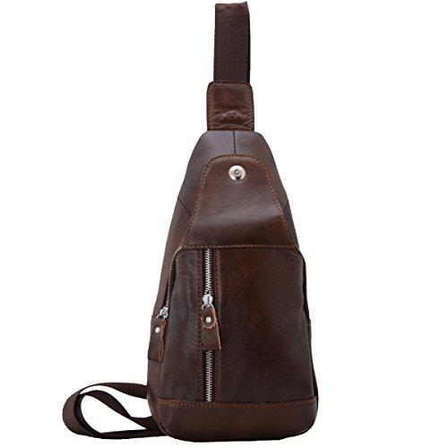 Yy.f Brusttasche Erste Schicht Von Ledertaschen Männer Schulterkurierbeutel Sporttaschen Geldbörsen Diagonale M-Paket Farbe 2 Brown