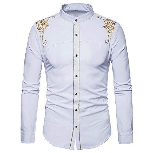 BaZhaHei Herren Langarmshirt Männer Hipster Fit Langarm Button Stickerei Unten Kleid Shirts Tops Bluse Freizeit Revers Stickerei Lange Ärmel Hemd