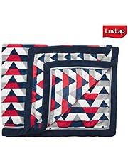 LuvLap Super Ultra Soft Flannel Baby Blanket 110cm x 130cm RED NAVY STRIPES