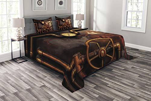Bett-set Queen-bronze (ABAKUHAUS industriell Tagesdecke Set, Dampfleitungen, Set mit Kissenbezügen Moderne Designs, für Doppelbetten 220 x 220 cm, Bronze dunkel Orange)