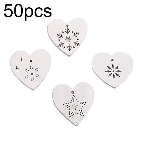 yimosecoxiang Schneeflocken-Herz-Anhänger zum Aufhängen, Ornament, Holz, Weihnachtsdekoration, Rot, 50 Stück weiß