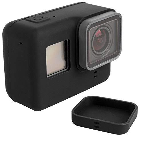 GoPro HERO 5,6, 7 Schutzhülle aus Silikon. Schmutzabweisender Skin Cover Protector + Objektivdeckel: Schützt vor Kratzern, Staub und Handhabungsschäden (Original Go Pro-speicherkarte)