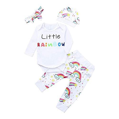 KOKOUK Baby Girls Boys Letter Print Romper Jumpsuit Rainbow Pants Outfits Set (White (Style G))