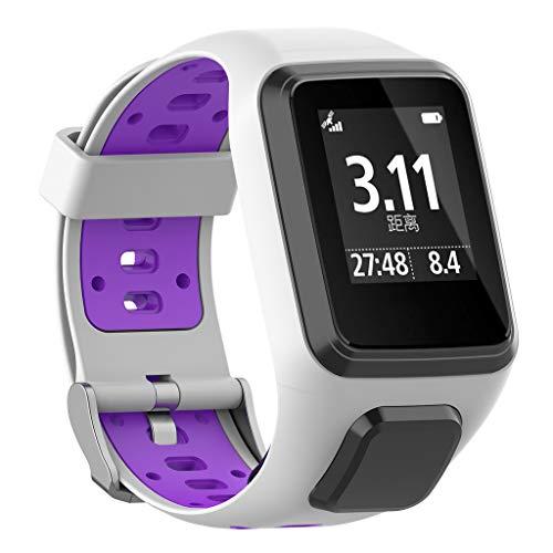 WAOTIER für Tomtom Runner 3 Armband mit Gehäuse Schutzhülle Silikon Armband Kompatibel für Tomtom Tomtom Runner 2/3 Spark/Spark 3 Sport Armband mit Edelstahl Verschluss Luftige Löcher (Lila)