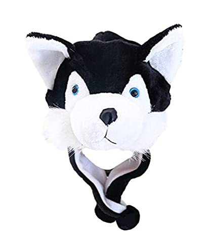 DELEY Unisex Frauen Mädchen Kinder Winter Warm Plüsch Tier Ohrenschützer Hüte Mützen Weihnachten Halloween Kostüm Geschenk Husky