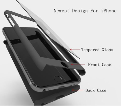 Generic Black Colour (Plastic) 360 Degree Full Body Protection Case Cover for Apple iPhone 6S Space Gray 128GB and 6/6S (Includes Front & Back Cover & Screen Tempered Glass)