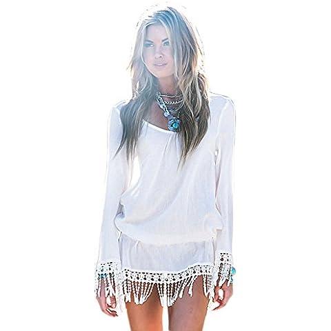 Bianco, stile Boho Tassel orlo spiaggia Mini vestito spiaggia caftano