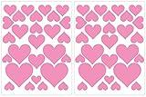 PREMYO Set 54 Adesivi Murali Bambini Cuori - Wall Stickers Muro Cameretta - Decorazione Parete Camera da Letto Rosa