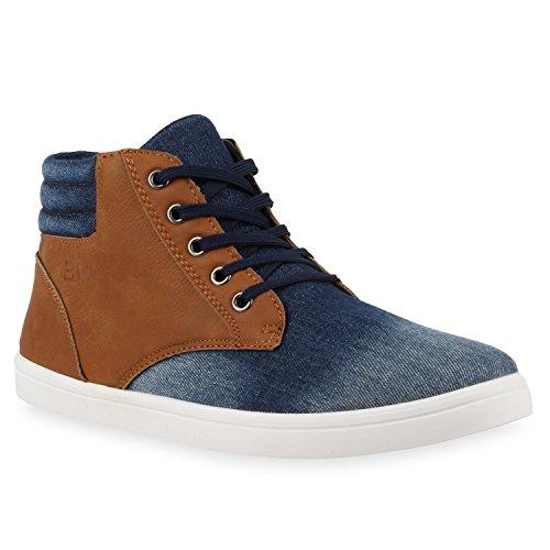 Herren Sneakers High Top Denim Schuhe Schnürer Bequem Blau Hellbraun