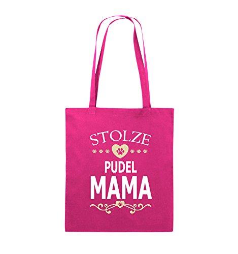 Comedy Bags - Stolze Pudel Mama - Herz - Jutebeutel - Lange Henkel - 38x42cm - Farbe: Pink/Weiss-Beige -