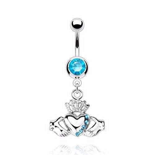 Herz 2 Hände Hand Liebe Strass Piercing Bauchnabel Bauchnabelpiercing Silber (Blau (714)) (Piercing Button Krone Belly)
