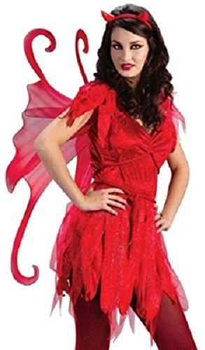 Fancy Me Damen Sexy Evil Roter Teufel Fee + Wings Halloween Kostüm Kleid Outfit - Rot, 10-12