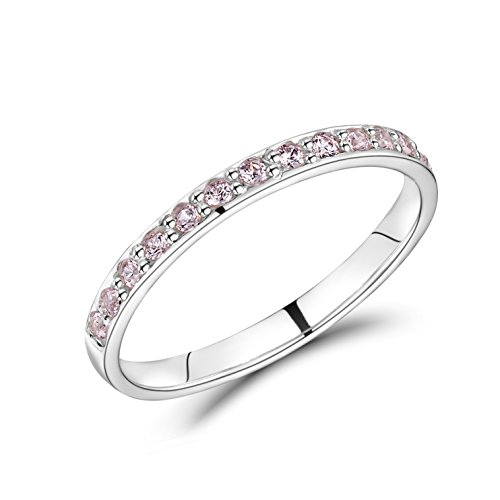 Jo for Girls Sterling Silver Eternity Ring with 15 Pink Cubic Zirconia Stones - Size H