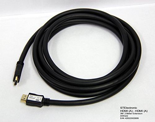 22 Lcd-720p Hdtv (3M extra langes HDMI (A) auf HDMI (A) Kabel im besonders leistungsfähigen Industriestandard mit AWG22 Qualität 22 (Ø) 0,64mm Querschnitt für lange Kabelstrecken und minimalem Datenverlust: HDMI A - HDMI A Cable, schwarz black 3 Meter)